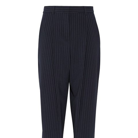 Pinstriped Stretch Wool-Blend Tapered Pants