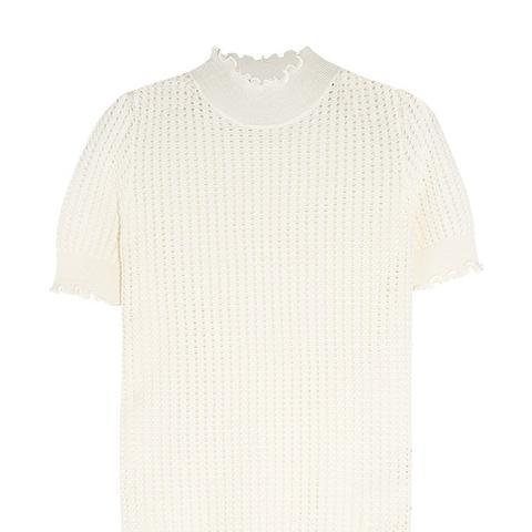 Pointelle-Knit Wool-Blend Turtleneck Sweater