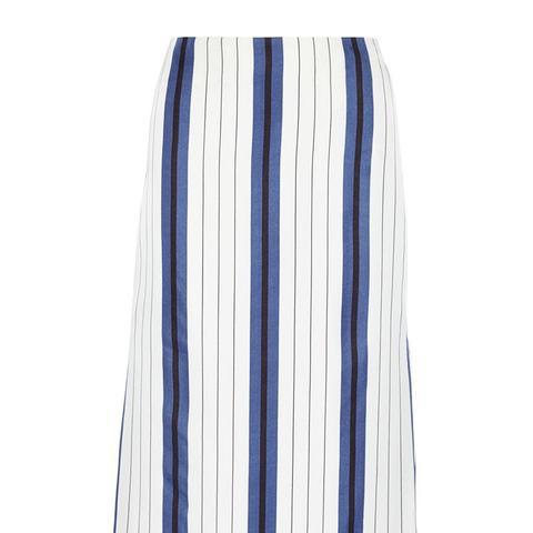 Striped Silk-Twill Midi Skirt