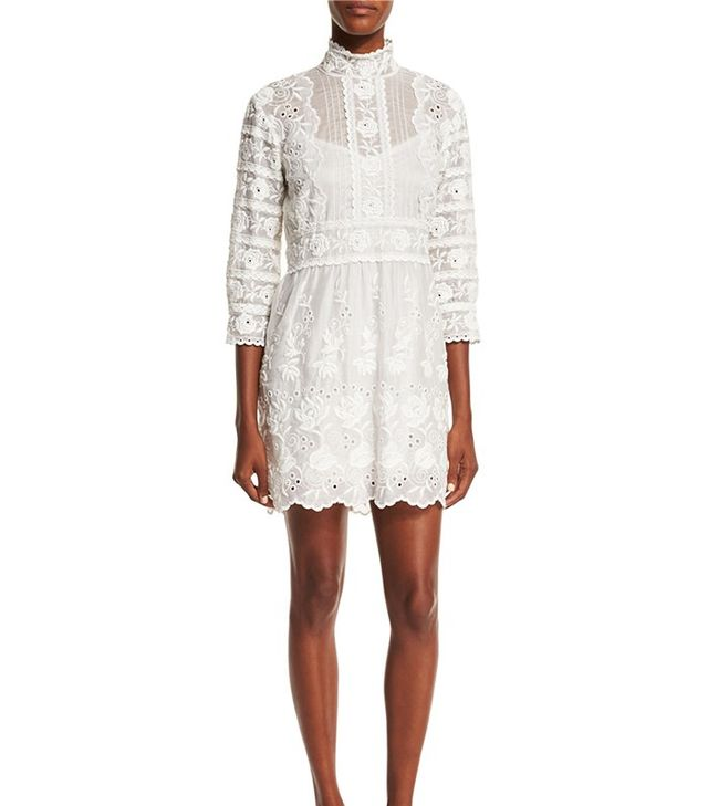 Marc Jacobs 3/4-Sleeve Embroidered Lace Dress