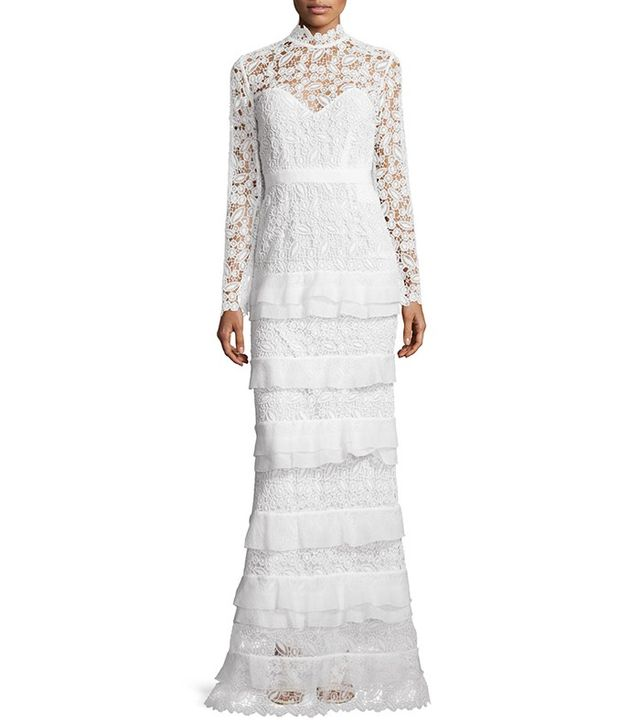 Self Portrait Primrose Long-Sleeve Tiered Lace Gown