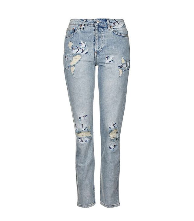 Topshop Moto Embroidered Straight Jeans