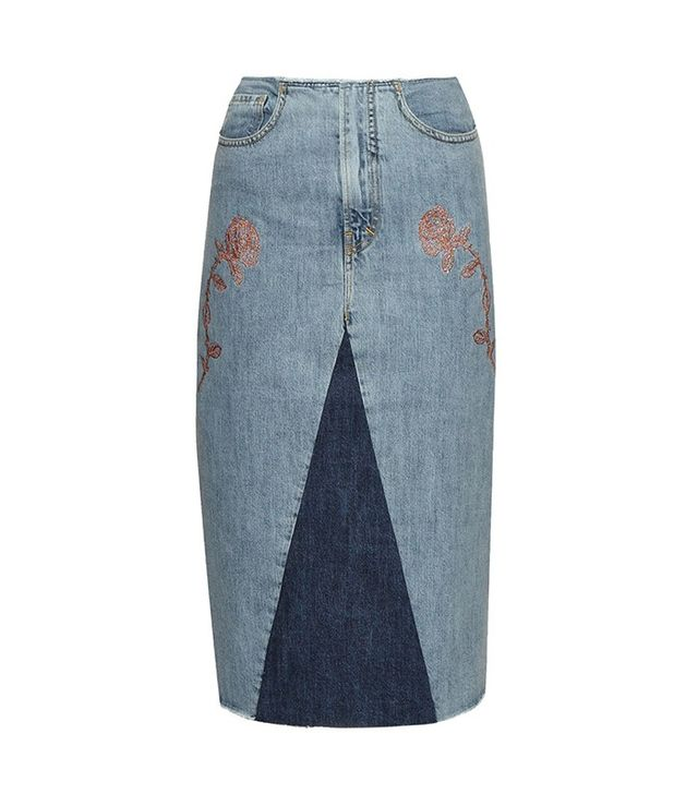 Aries Rose-Embroidery Denim Skirt