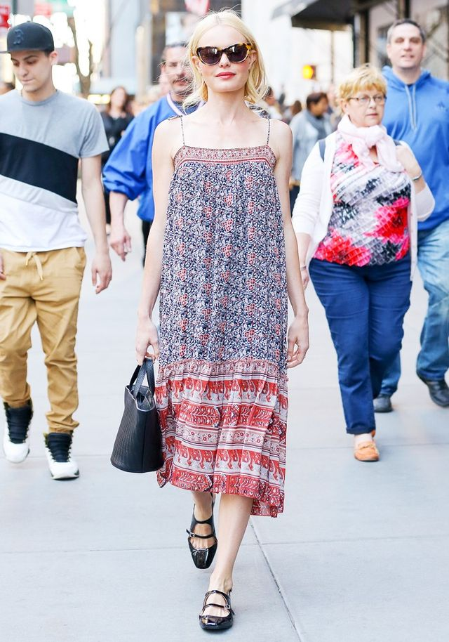 On Kate Bosworth: Ulla Johnson Imane Midi-Dress (£315); Meli Melo Rosalia Mini Bag (£350); Carvenshoes. Similar Styles: Illesteva Emmanuelle Cat's Eye Sunglasses...