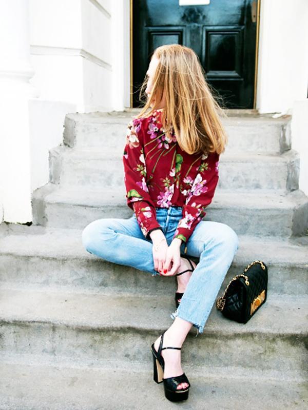 Bloom-Print Blouse + Raw-Edge Jeans