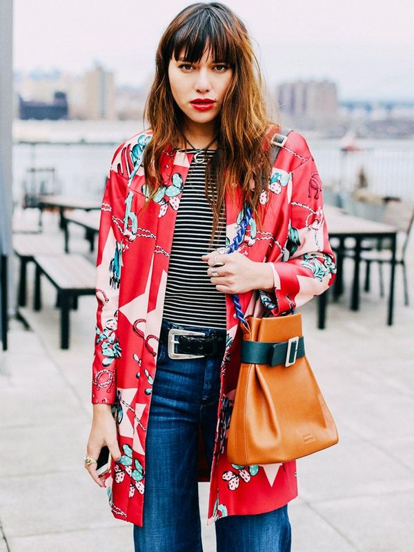 Printed Coat + Striped Jersey
