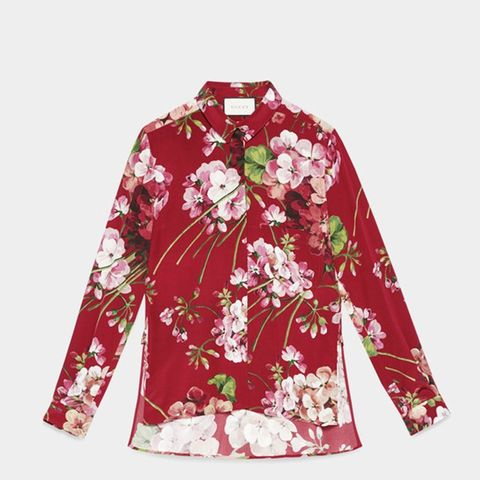 Blooms Print Silk Shirt