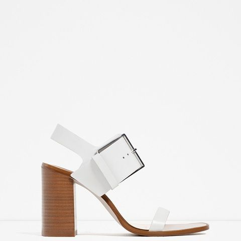 Leather High Heel Sandals With Buckle