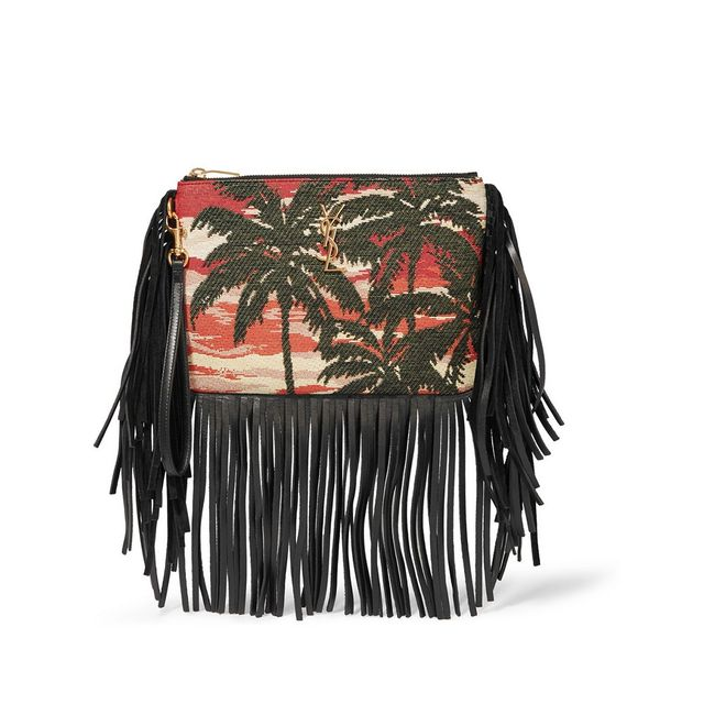 Saint Laurent Monogramme Fringed Leather and Jacquard Clutch