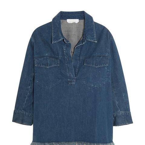 Oversized Frayed Denim Shirt