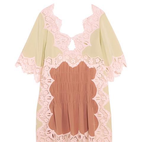 Macramé Lace-Trimmed Silk Crepe de Chine Mini Dress