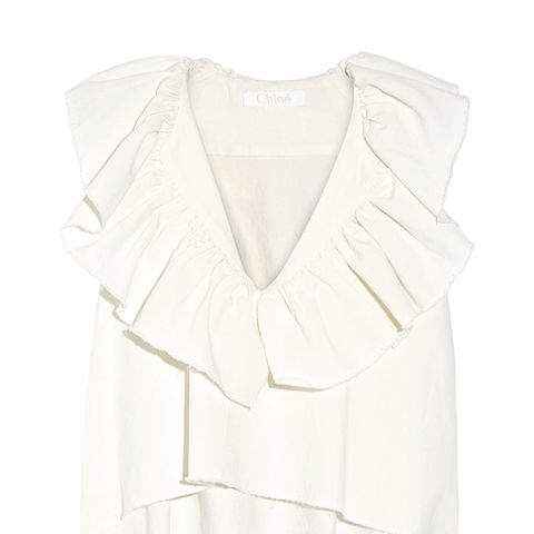 Ruffled Cotton and Linen-Blend Twill Top