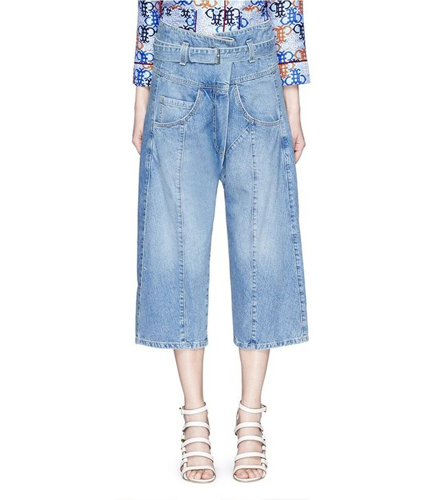 Rachel Comey Tolleson Belted Cropped Wide Leg Denim Pants