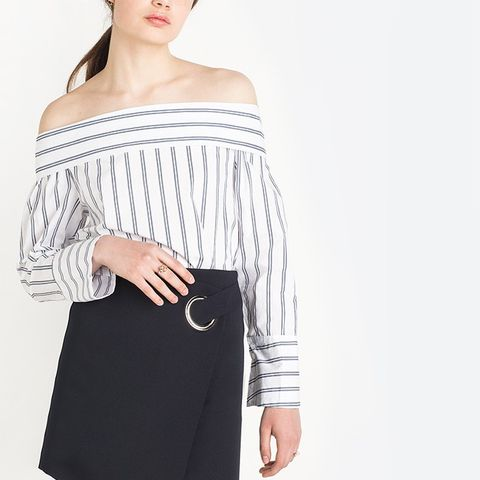 Two Way Stripe Off the Shoulder Shirt