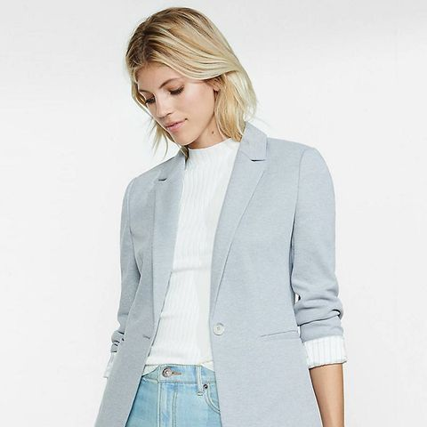 Light Grey Pique Knit Blazer