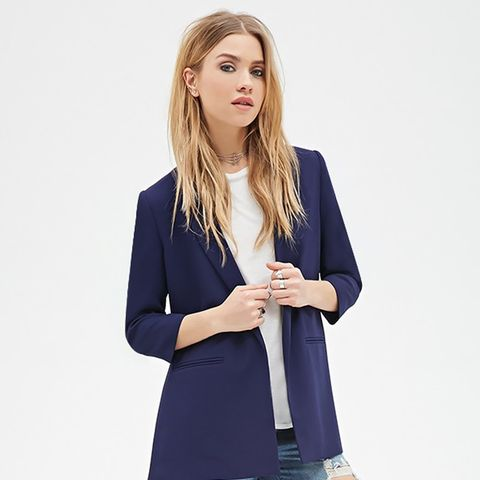 Textured Open-Front Blazer