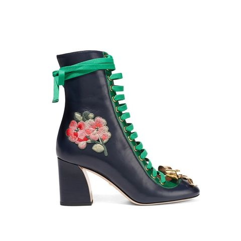 Embroidered Leather Lace-Up Ankle Boots