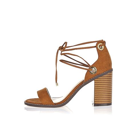 Light Brown Tie-Up Block Heel Sandals