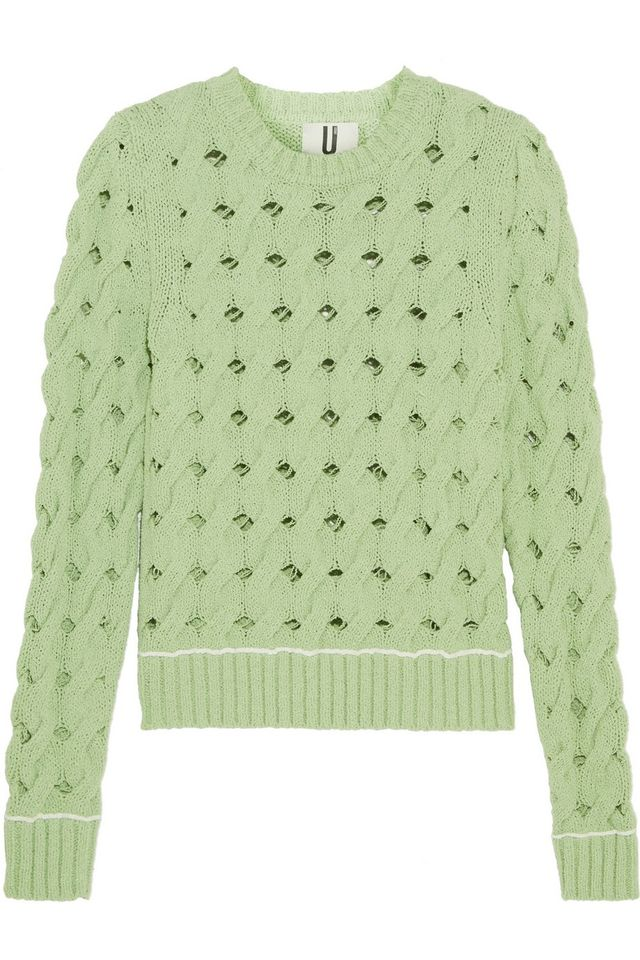 Topshop Unique Ixworth Cable-Knit Cotton-Blend Sweater