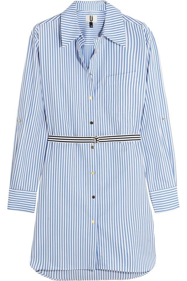 Topshop Unique Dorney Striped Cotton-Poplin Shirt Dress