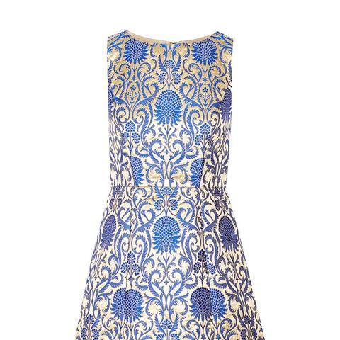 Carrie Metallic Brocade Mini Dress