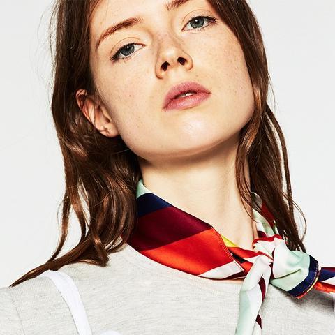 Multicoloured Stripe Bandana Style Scarf