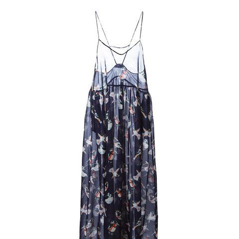 Bird Print Sheer Dress