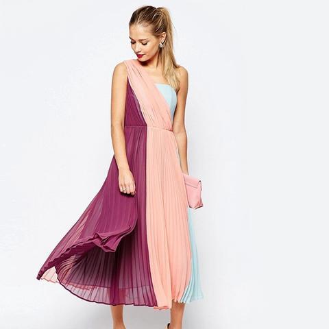 Premium Color Block One Shoulder Midi Dress