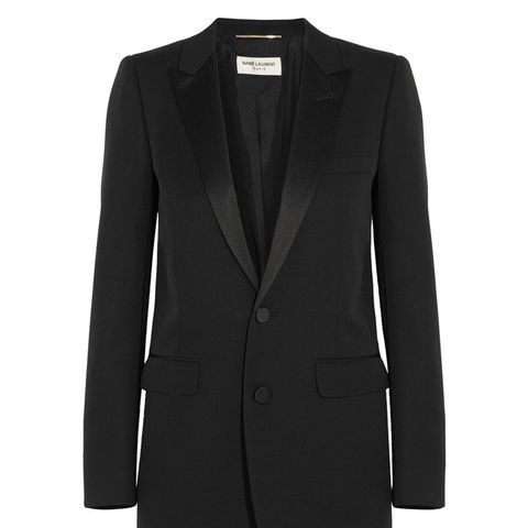 Satin-Trimmed Wool Blazer