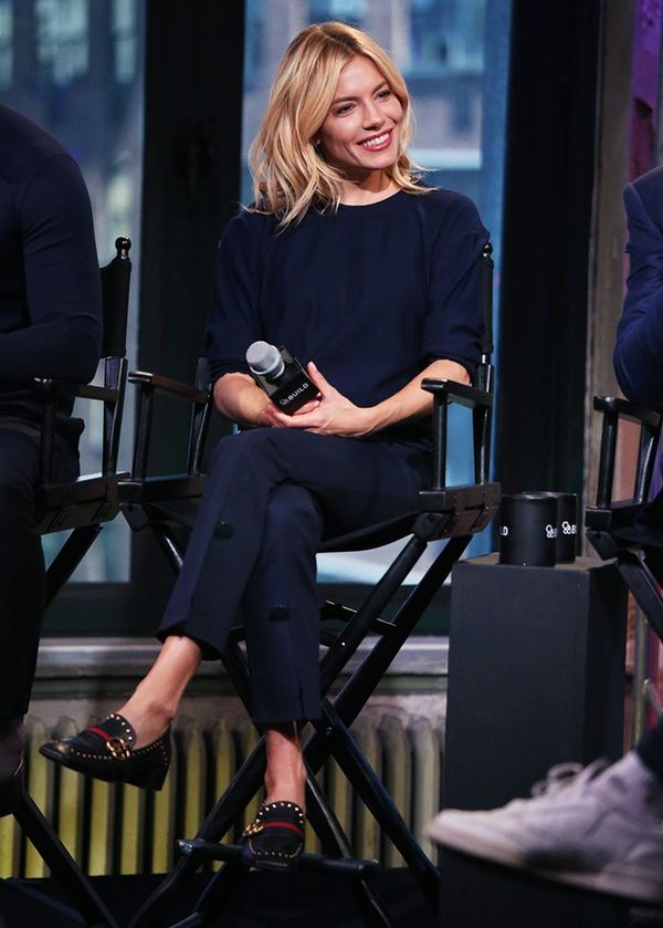 On Sienna Miller: Trademark Front-Slit Pant(£240); Gucci Peyton Pumps (£680) available withFaux-Pearl-Heel.