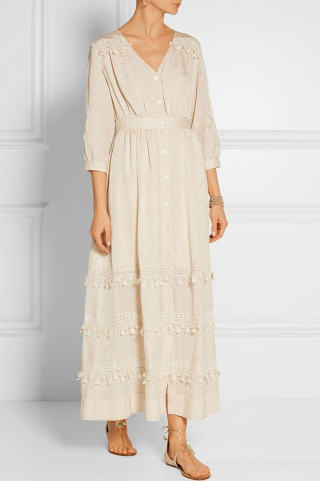 Sea Crochet-Trimmed Cotton Dress