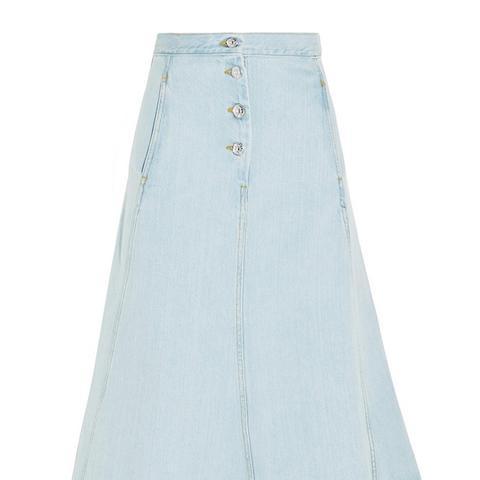 Kady Asymmetric Denim Midi Skirt