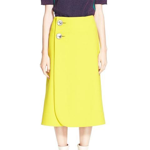 A-Line Jewel Button Midi Skirt