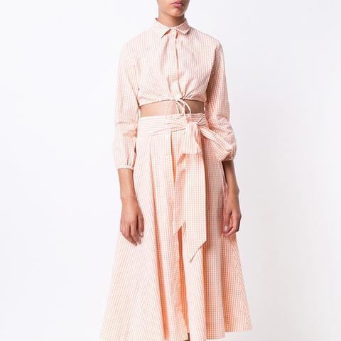 Checked Tie Waist Skirt