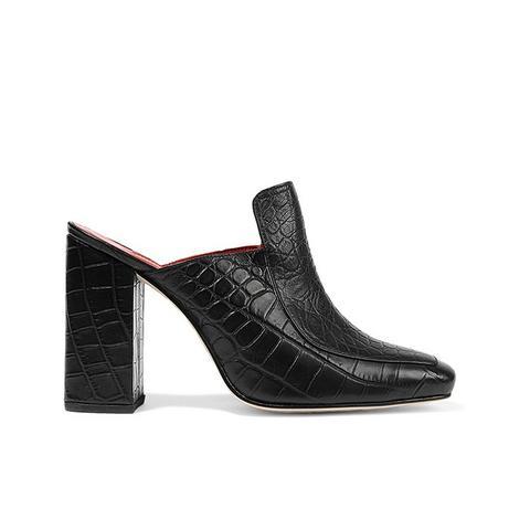 Munise Croc-Effect Leather Mules