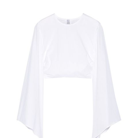Knotted Cropped Cotton-Poplin Top