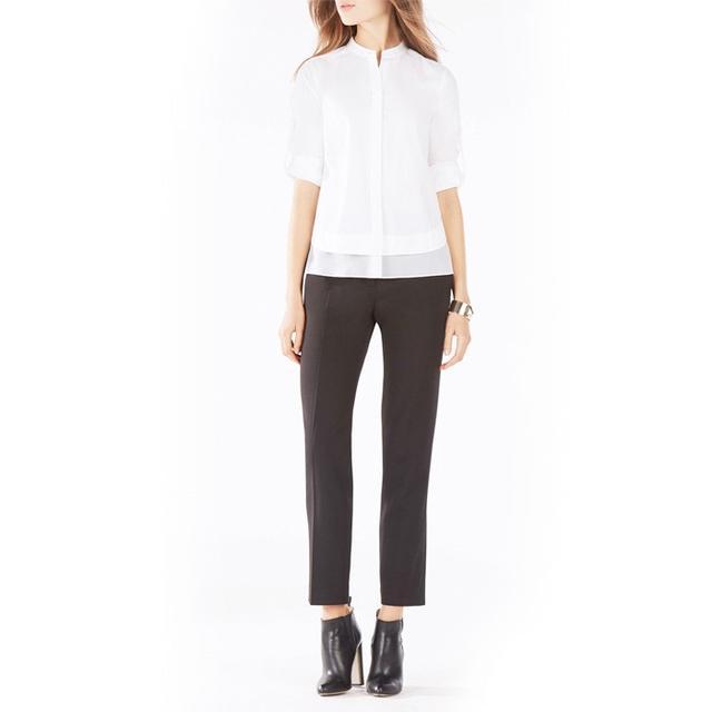 BCBG Kaikee Silk-Trimmed Button-Down Shirt