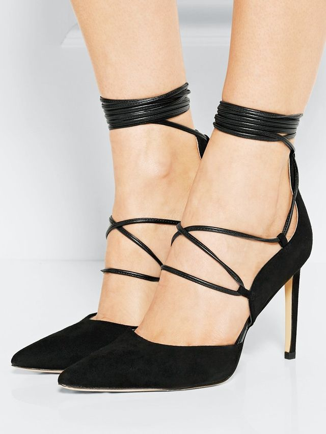 Sam Edelman Lace-Up Leather Trimmed Suede Pumps