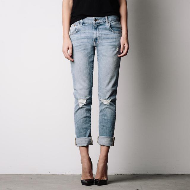DSTLD Ripped Mid Rise Skinny Boyfriend Jeans