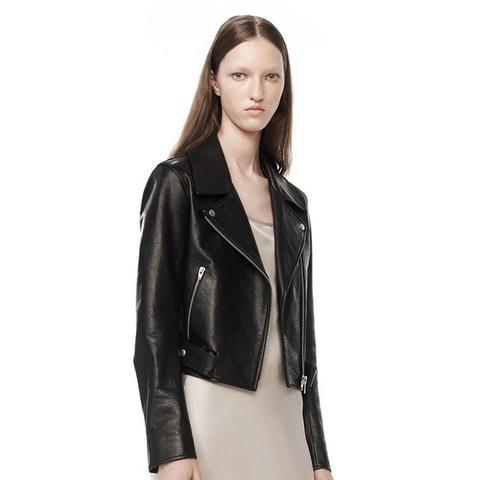 Waxy Leather Cropped Moto Jacket