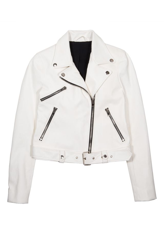 Kendall + Kylie Belted Zip-Front Leather Jacket