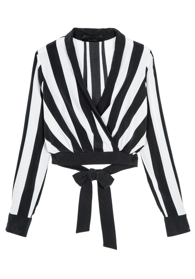 Kendall + Kylie Long-Sleeve V-Neck Striped Top