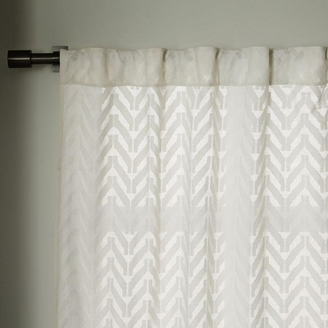 West Elm Sheer Chevron Curtain - White