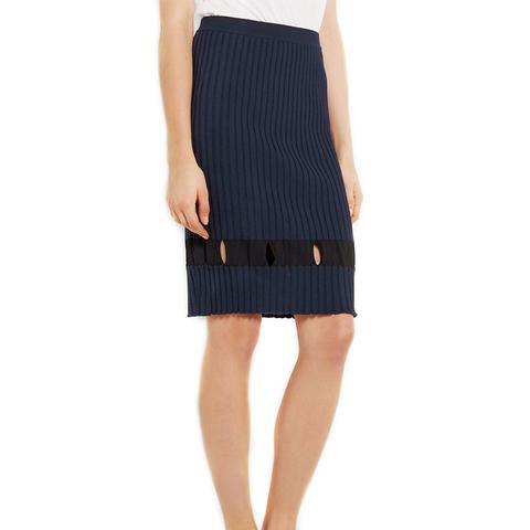 Cutout Ribbed Wool Skirt