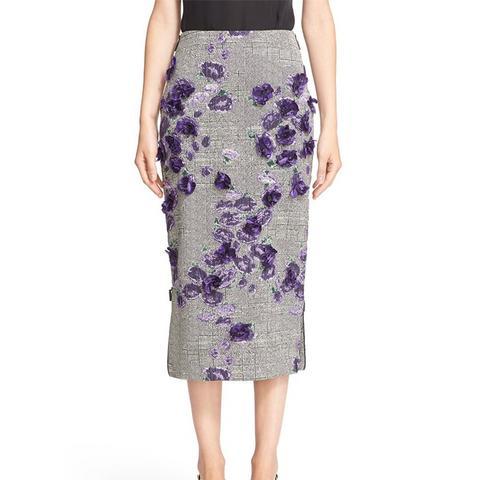 Fil Coupe Floral Embellished Midi Skirt