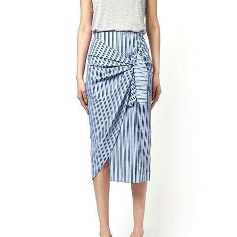 Stripe Tie Front Skirt