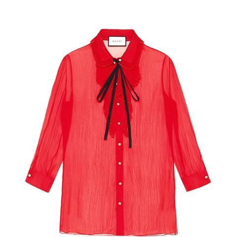Chiffon Crepe Pleated Shirt