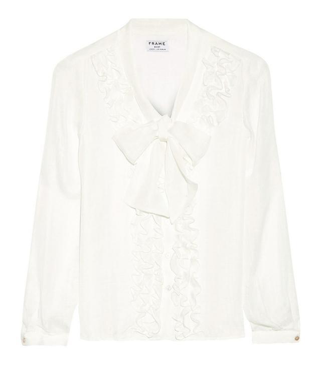 Frame Denim Le Ruffle Pussy-Bow Silk Shirt
