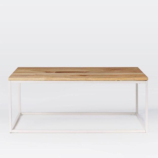 West Elm Box Frame Coffee Table - Raw Mango + White Frame