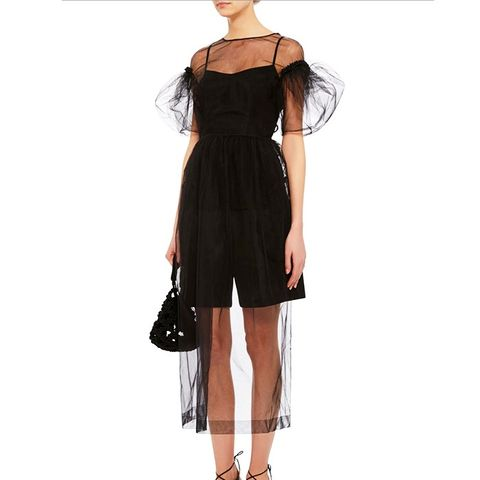 Sheer Tulle Puffed Sleeve Dress